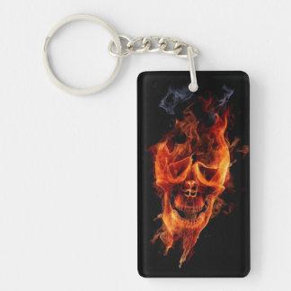 Flame Skull Double-Sided Rectangular Acrylic Keychain