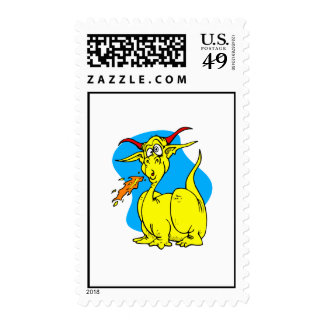 Flame Sneezer Yellow Dragon.png Postage Stamps