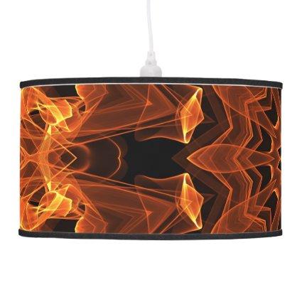 Flame Sunflower Mandala, Abstract Orange Flower Pendant Lamp
