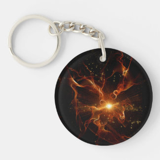 Flame swirls in red and black Single-Sided round acrylic keychain