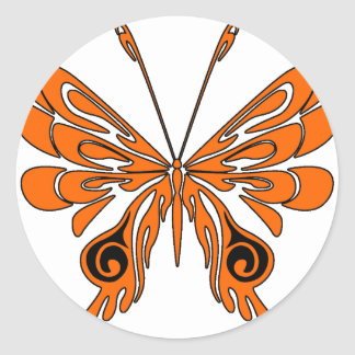 Flame Tattoo Butterfly Classic Round Sticker