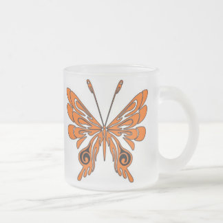 Flame Tattoo Butterfly Frosted Glass Coffee Mug