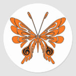 Flame Tattoo Butterfly Round Sticker