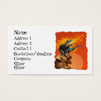 Flame Throwing Dinosaur Art by Michael Grills Business Card