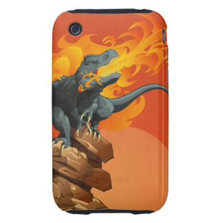 Flame Throwing Dinosaur Art by Michael Grills iPhone 3 Tough Cases