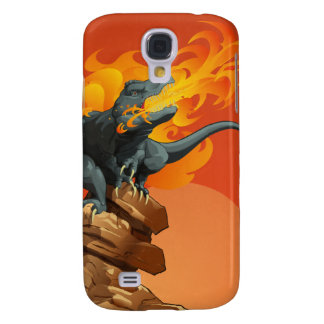 Flame Throwing Dinosaur Art by Michael Grills Samsung Galaxy S4 Covers