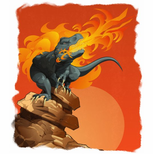 Flame Throwing Dinosaur Art by Michael Grills Cutout