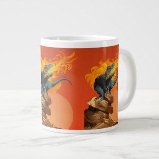 Flame Throwing Dinosaur Art by Michael Grills Giant Coffee Mug