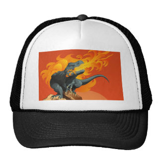 Flame Throwing Dinosaur Art by Michael Grills Mesh Hats