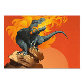 """Flame Throwing Dinosaur Art by Michael Grills 3.5"""" X 5"""" Invitation Card"""