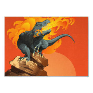 Flame Throwing Dinosaur Art by Michael Grills Custom Invite