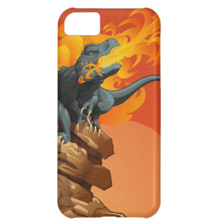 Flame Throwing Dinosaur Art by Michael Grills iPhone 5C Case