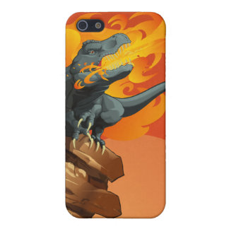 Flame Throwing Dinosaur Art by Michael Grills iPhone 5 Cases
