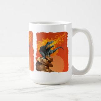 Flame Throwing Dinosaur Art by Michael Grills Coffee Mugs