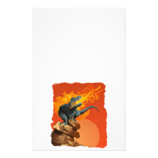 Flame Throwing Dinosaur Art by Michael Grills Customized Stationery