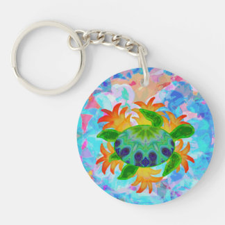 Flame Turtle Double-Sided Round Acrylic Keychain
