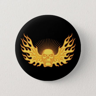 Flame-Wing-Skull Button