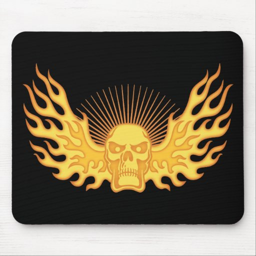 Flame-Wing-Skull Mouse Mat