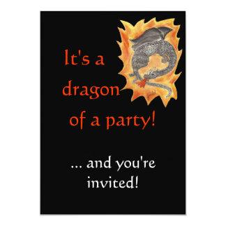 """Flamea el dragón invitación 5"""" x 7"""""""