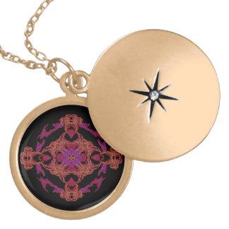 flamecross round locket necklace