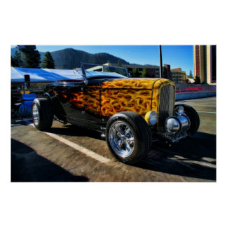 Flamed Classic Car on color Poster
