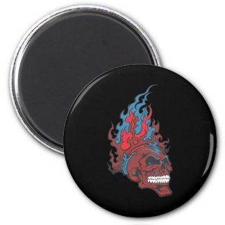 Flamed Fire Tattoo Skull 2 Inch Round Magnet