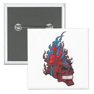 Flamed Fire Tattoo Skull Button