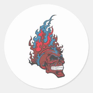 Flamed Fire Tattoo Skull Classic Round Sticker