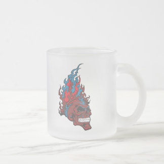 Flamed Fire Tattoo Skull Frosted Glass Coffee Mug