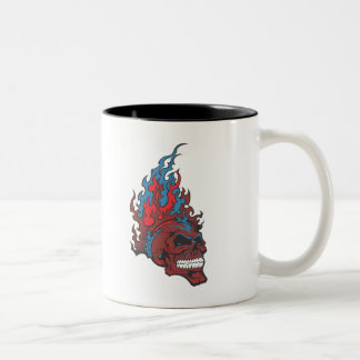 Flamed Fire Tattoo Skull Two-Tone Coffee Mug