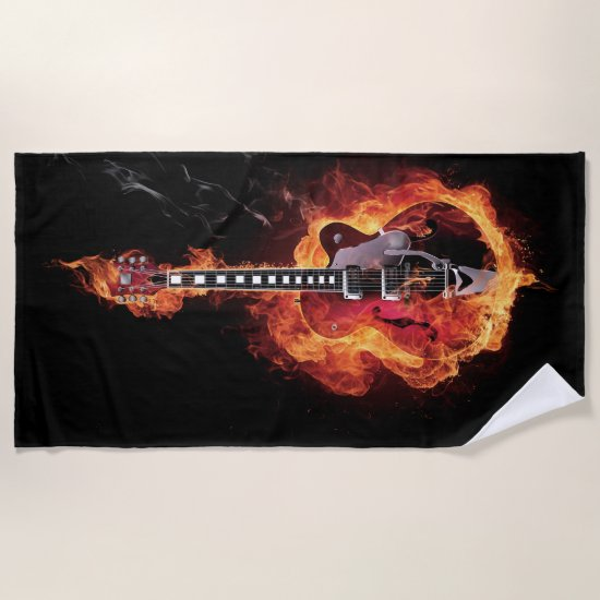 Flamed Guitar Beach Towel