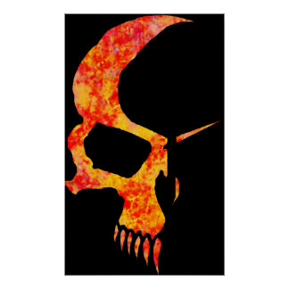 Flamed skull posters