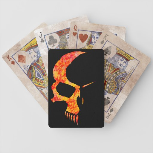 Flamed tribal style skull distressed poker cards
