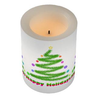 FLAMELESS CANDLE - HAPPY HOLIDAYS CHRISTMAS TREE