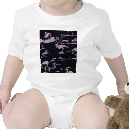 Flamenco blanco (impresión de la hawaiana del traje de bebé