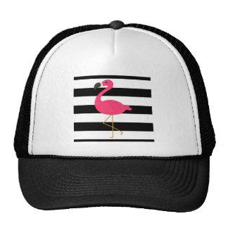 Flamenco blanco y negro del rosa de la raya gorra