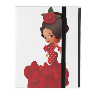 Flamenco cartoon chibi kawaii girl iPad cover