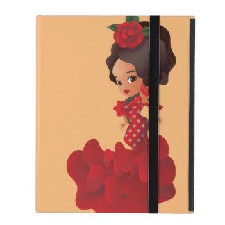 Flamenco cartoon chibi kawaii girl iPad folio cases