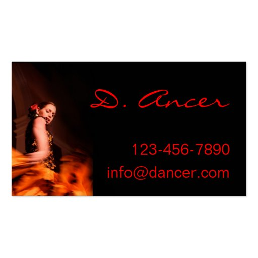 Flamenco dancer business card zazzle for Dancer business cards