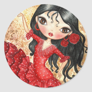 """""""Flamenco Dancer"""" Classic Round Sticker"""