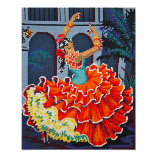 Flamenco Dancer in Colour Poster/Print