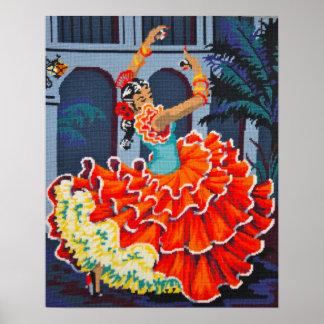 Flamenco Dancer in Colour Poster/Print Poster