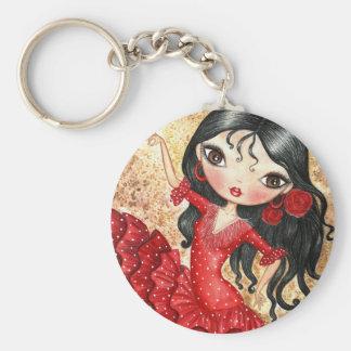 """""""Flamenco Dancer"""" Basic Round Button Keychain"""