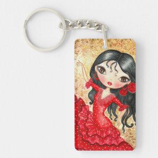 """""""Flamenco Dancer"""" Double-Sided Rectangular Acrylic Keychain"""