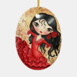 """Flamenco Dancer"" Double-Sided Oval Ceramic Christmas Ornament"