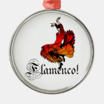 Flamenco Dancer Round Metal Christmas Ornament