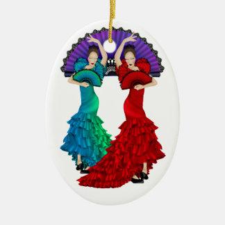 Flamenco Dancer - SRF Double-Sided Oval Ceramic Christmas Ornament