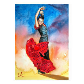 FLAMENCO DANCER watercolour Postcard