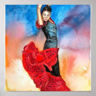 FLAMENCO DANCER watercolour Poster