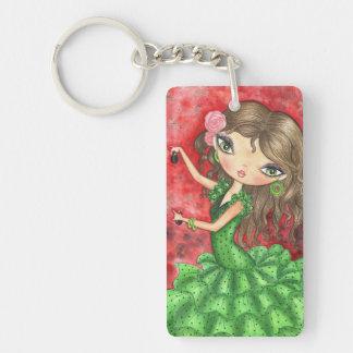 """Flamenco Dancer with Castanets"" Double-Sided Rectangular Acrylic Keychain"